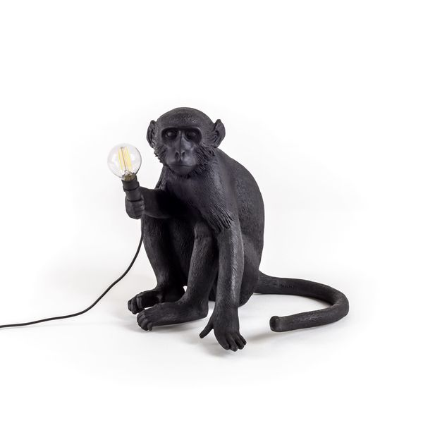 Seletti Sitting Monkey Lamp Black Outdoor